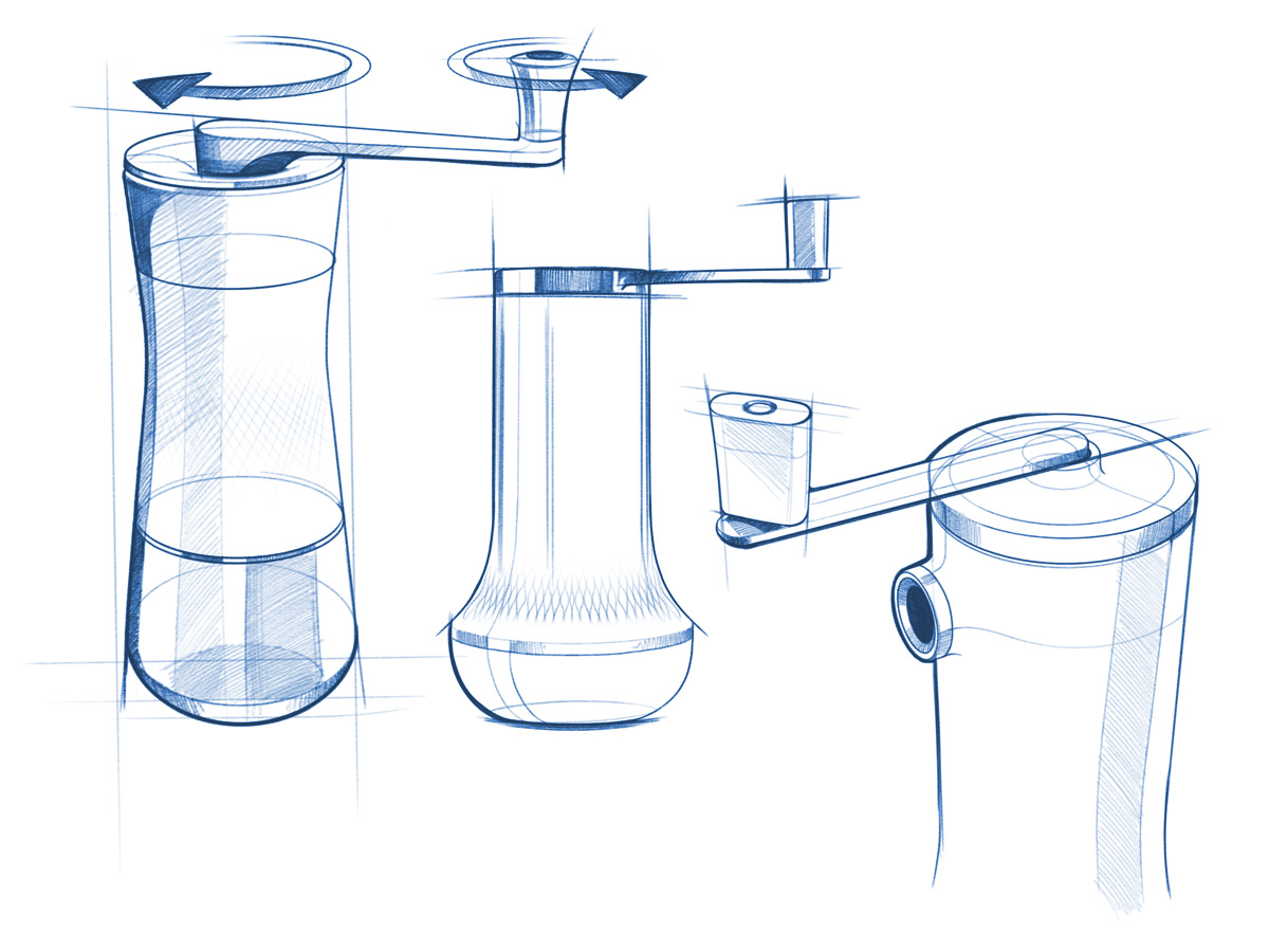 Arzum Okka Beangourmet Coffee Grinder Design sketches